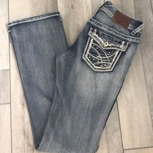 Maurice's boot cut jeans sequined pockets